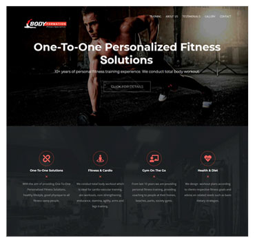 Personal trainer website sample